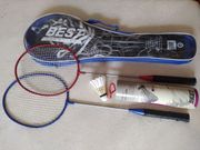 Badminton-Set 2x Schläger Tasche Netz