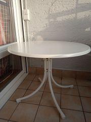 Gartentisch weiß D 90 cm