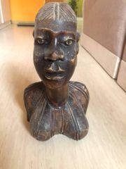 Afrikanischer Frauenkopf Holzkopf handgeschnitzt