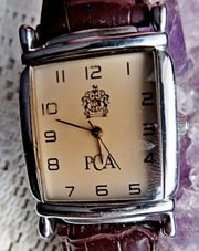 TIP Neuwertige Edelstahl-Marken-Armbanduhr Lederarmband gut