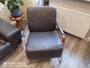 hochwertige Leder Sofa mit Sessel