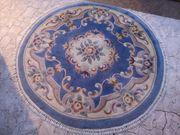 Orient-Teppich rund handgeknüpft blau beige