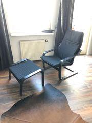 IKEA Sessel Hocker schwarz