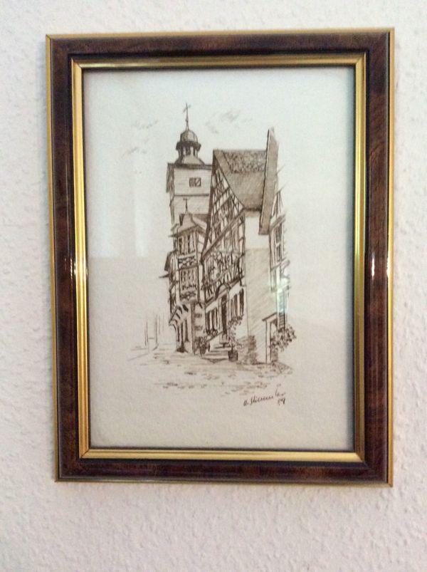 Signierte, gerahmte Zeichnung, Heppenheim Altstadt in Lorsch - Kunst ...