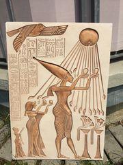 Gipsplatte aus Ägypten mit Sonnengott