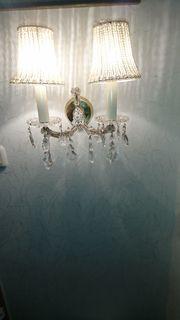 2 Wandlampen mit Kristallen