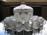 Bowleservice - Bleikristall - 14teilig - Vintage
