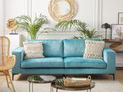 3-Sitzer Sofa Samtstoff hellblau VADSTENA neu