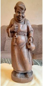Grosse massive Holzfigur Mönch mit