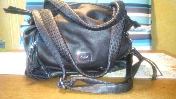 Echte Leder-Schulter- Hand- Tasche schwarz