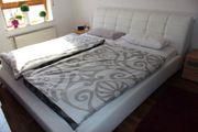 Doppelbett Gestell Bett Weiß Kunstleder