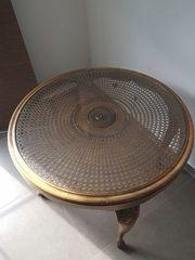 Antiker Holztisch braun gold Cippendale