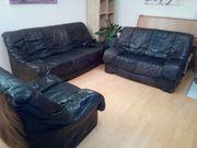Couch-Garnitur Leder schwarz zu verschenken