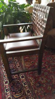 2 Holzstühle mit Leder