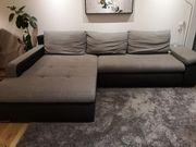 Couch L-Form grau-schwarz mit 3