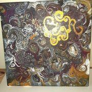 Gemälde zentangle pouring gold