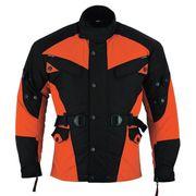 Textil Motorradjacke Orange Schwarz