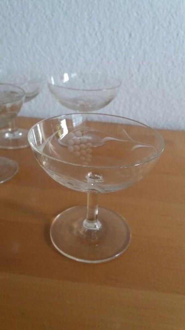 4 Likör Gläser 60er Jahre