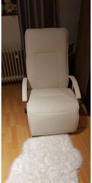 Relax Sessel Kunstleder weiß neuwertig