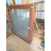 alte Mahagoni-Fenster Tür mit Isolierglas