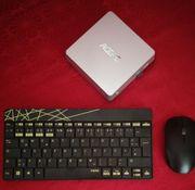 Mini-PC mit Tastatur und MF-Drucker