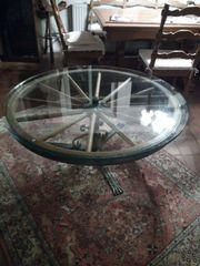 Wohnzimmer - Couchtisch Wagenrad rustikal mit