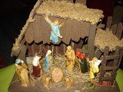 Weihnachtskrippe Holz mit Spieluhr