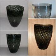 große Glasvase Unikat schwarz grün