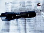 Neue Cree LED-Akku-Taschenlampe Stahlgehäuse Powerbank USB-Ladekabel