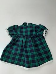 Puppenkleid grün blau kariert
