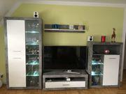 Wohnwand 4tlg weiß grau - mit LED-Beleuchtung