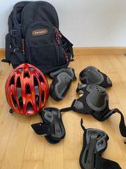 Rollerblades mit Tasche Helm Schoner