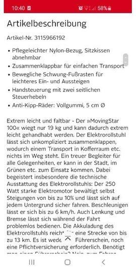 movingStar elektrische Rollstuhl: Kleinanzeigen aus Augsburg Firnhaberau - Rubrik Medizinische Hilfsmittel, Rollstühle