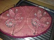 Schöne Glasschalen Blattform mit Blumendekor