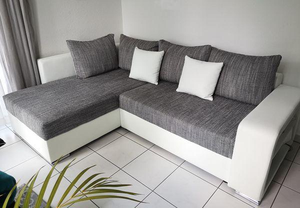 Ecksofa weiß-grau mit Bettfunktion Bettkasten