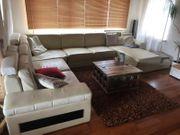 Echtleder Couch L-Form creme