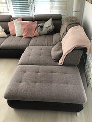 Couchgarnitur Stoff - Braun