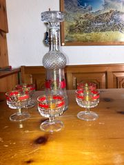 Vintage Likörkaraffe mit Gläsern zu
