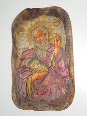 wunderschöne antike Holz Ikone - 19