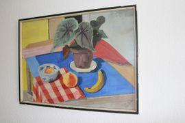 Kunst, Gemälde, Plastik - Gemälde Stilleben Obst mit Planze