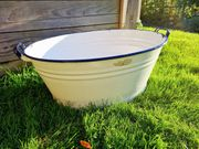 Emaillewanne für Gartendeko weiß-blau