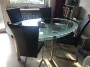 schöner ovaler Glas Esstisch Glastisch