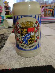 Bierkrug Masskrug Regensburg Bayern Wappen