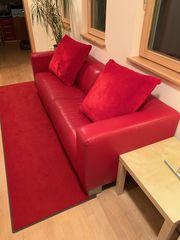Leder-Sofa 3 5-sitzig rot Federkern