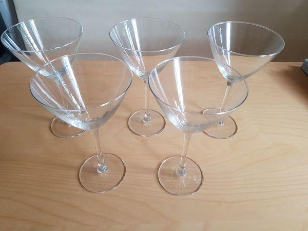 5 Gläser/Kelche aus Klarglas, für Cocktails, Martini, Sekt, 150ml