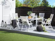 Gartenstuhl grau 6er Set Aluminium