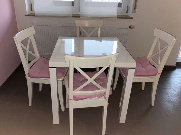 Tisch Weiss Hochglanz 4 Ikea Stuhle In Rodgau Speisezimmer