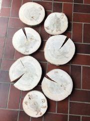 Holzscheiben Baumscheiben Tischdeko Deko Tischplatte