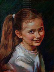 Kunstmalerin Portraitistin malt Portraits nach