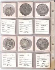 36 Silbermünzen Deutsches Reich 1871 -
